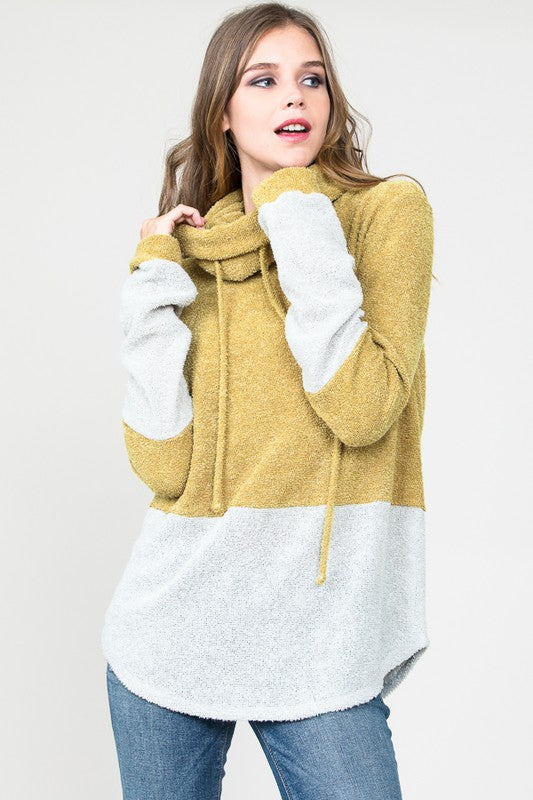 Always Be You Cowl Neck Pullover (Mustard) - Pineapple Collective