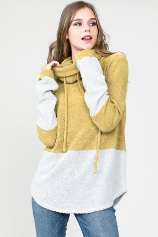 Always Be You Cowl Neck Pullover (Mustard)