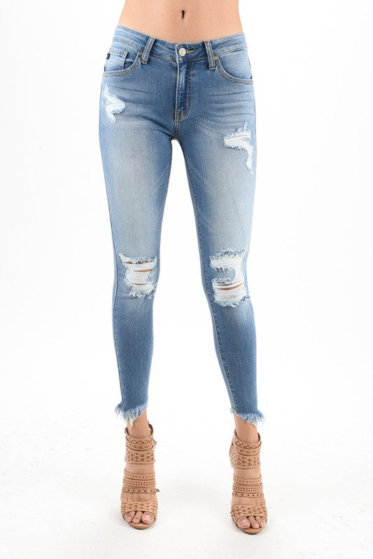 KanCan Ankle Skinny Distressed Jeans (Light Wash) - Pineapple Collective