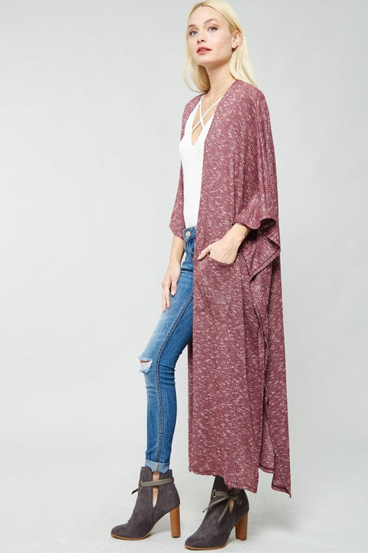 Falling For You Ribbed Open-Front Cardigan (Burgundy) - Pineapple Collective