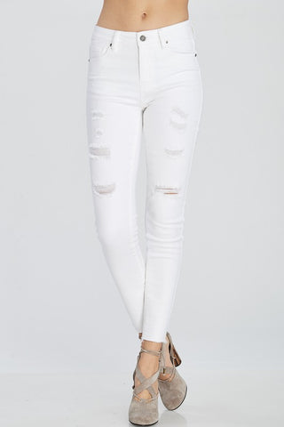 Distressed Denim Skinny Jeans (White) - Pineapple Collective