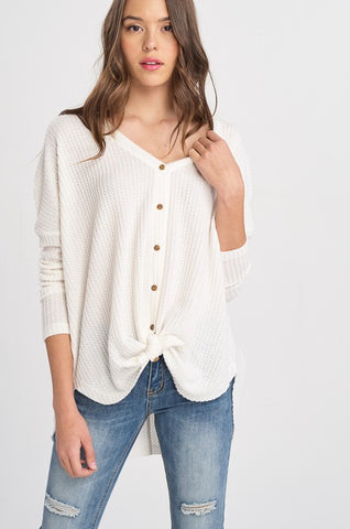 Sweet Dreams Thermal Knit Button Down Sweater (Ivory) - Pineapple Collective
