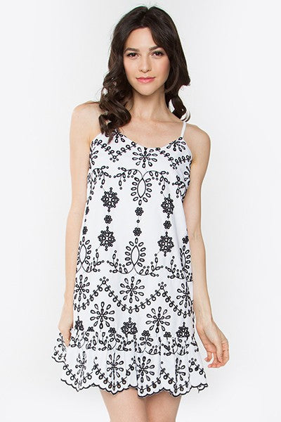 Kacie Embroidered Dress (White-Black) - Pineapple Collective