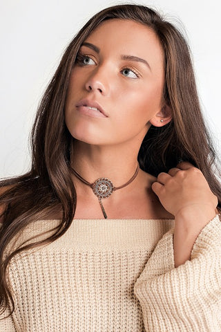 Faux Suede Medallion And Charm Detail Choker - Pineapple Collective