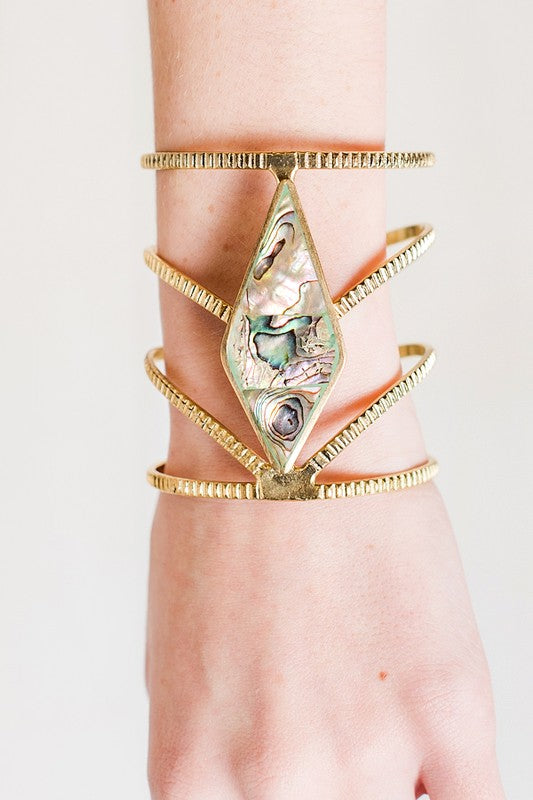 Diamond Shaped Gemstone Detail Layered Cuff (Gold) - Pineapple Collective