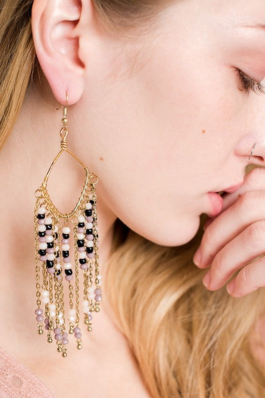 Beaded Tassel Drop Earrings - Pineapple Collective