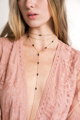 Black Beaded Layered Choker - Pineapple Collective