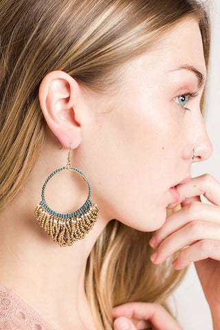Beaded Hoop Style Drop Earrings Color (Gold/Multi) - Pineapple Collective