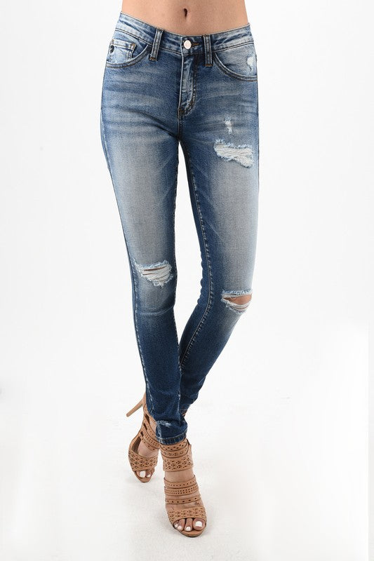 KanCans Distressed Super Skinny Jeans (Medium Wash) - Pineapple Collective