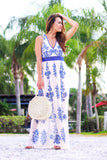 Bohemian Dreams Mesh Print Dress (Ivory/Blue) - Pineapple Collective