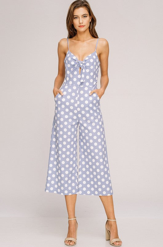 The Cutest Thing Polka Dot Jumpsuit (Blue) - Pineapple Collective