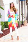 Made of Rainbows Stripe Cardigan (Pink Multi) - Pineapple Collective