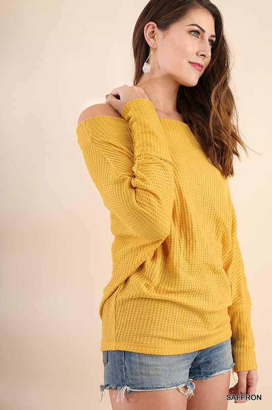 Cozy Chic Off Shoulder Batwing Sleeves Thermal Top (Mustard) - Pineapple Collective