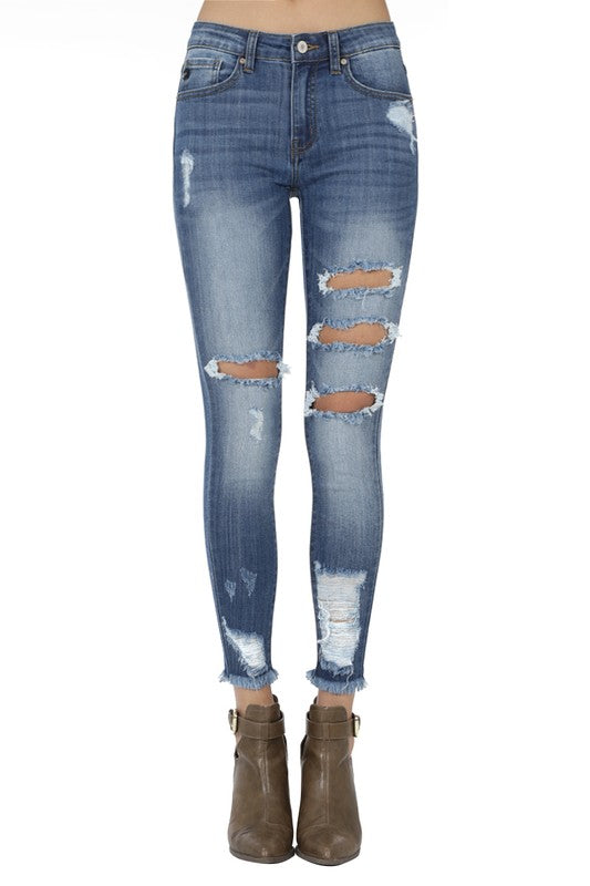Martha KanCan Ankle Skinny Distressed Jeans (Medium Wash/Mid-Rise) - Pineapple Collective