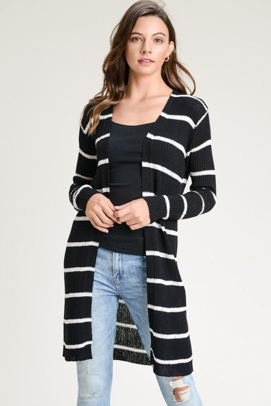Enjoy the Little Things Ribbed Xlong Open Cardigan (Black) - Pineapple Collective
