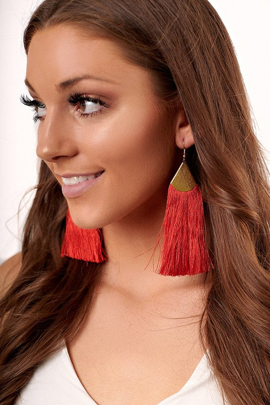 Fringe Trim Drop Earrings (Red/Gold) - Pineapple Collective