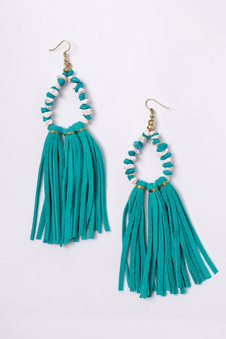 Beaded Faux Suede Tassel Trim Earrings (Gold/Turquoise) - Pineapple Collective