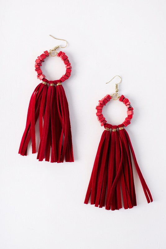 Beaded Faux Suede Tassel Trim Earrings (Gold/Red) - Pineapple Collective