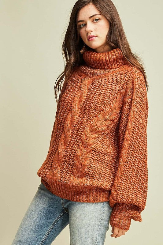 Sure About This Cable Knit Turtle Neck Sweater (Desert Sand) - Pineapple Collective