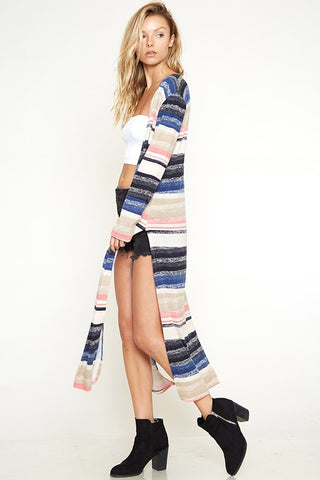 As We Agreed Striped Long Cardigan (Mauve/Blue) - Pineapple Collective