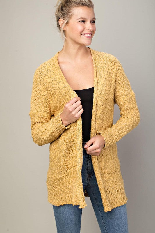 Neutral Love Knit Cardigan (Mustard) - Pineapple Collective