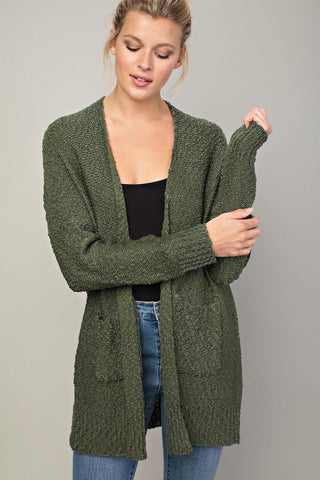 Neutral Love Knit Cardigan (Olive)