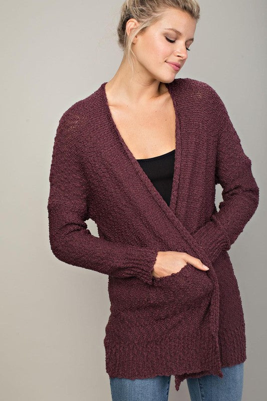Neutral Love Knit Cardigan (Maroon) - Pineapple Collective