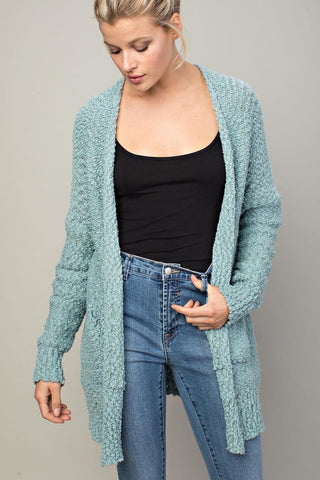 Neutral Love Knit Cardigan (Teal)