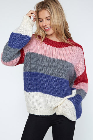 You Have My Heart Multi Color Knit Sweater (Red/Blue Multi)