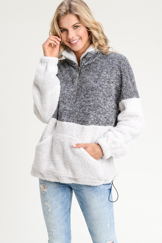 Cozy Winter Two Tone Turtle Neck Fuzzy PullOver (Charcoal/Grey) - Pineapple Collective