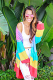 Made of Rainbows Stripe Cardigan (Pink Multi)