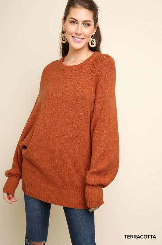 Crazy In Love Long Sleeve Boucle Knit Pullover Sweater (Terracotta) - Pineapple Collective
