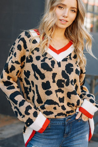 Leopard Oversized Sweater (Red) - Pineapple Collective