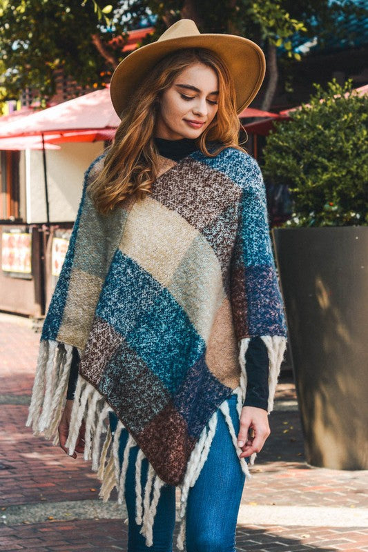 Magic Of Fall Block Tassel Poncho (Peach/Blue) - Pineapple Collective