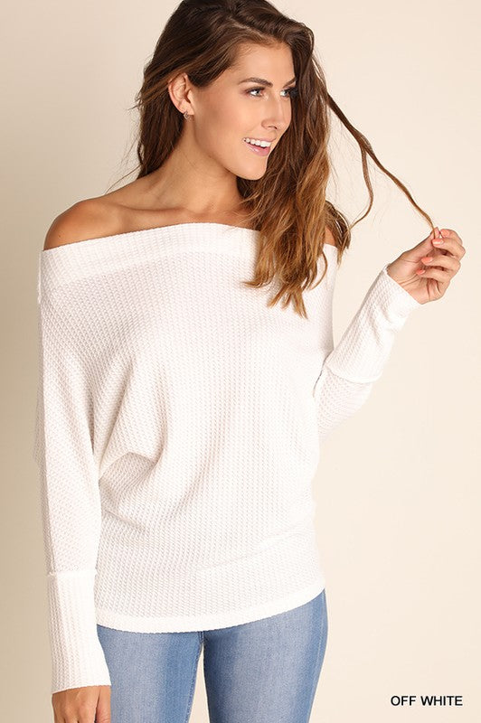Cozy Chic Off Shoulder Batwing Sleeves Thermal Top (Off White) - Pineapple Collective
