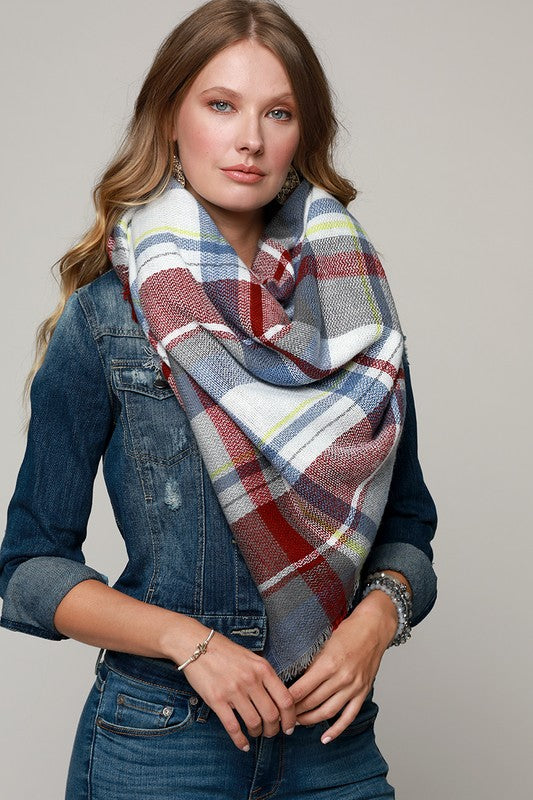 Plaid Oversized Frayed Square Blanket Scarf (Light Blue/Burgundy) - Pineapple Collective