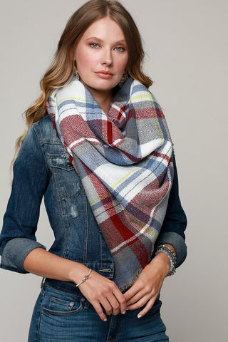 Plaid Oversized Frayed Square Blanket Scarf (Light Blue/Burgundy)