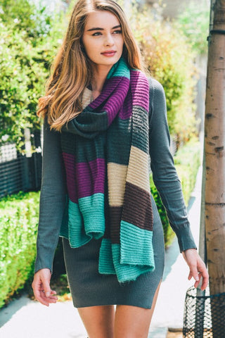 ColorBlock Knit Scarf (Mint) - Pineapple Collective