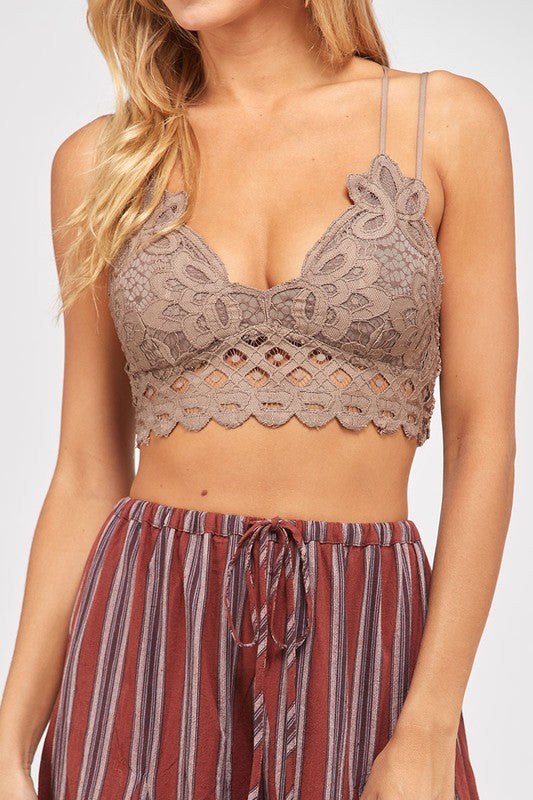 Lost Without You Double Strap Scalloped Lace Bralette (Cocoa) - Pineapple Collective