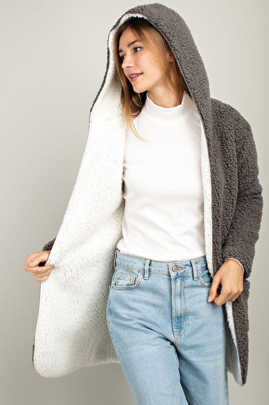 Sherpa Reversible Hooded Jacket (Ivory/Charcoal) - Pineapple Collective
