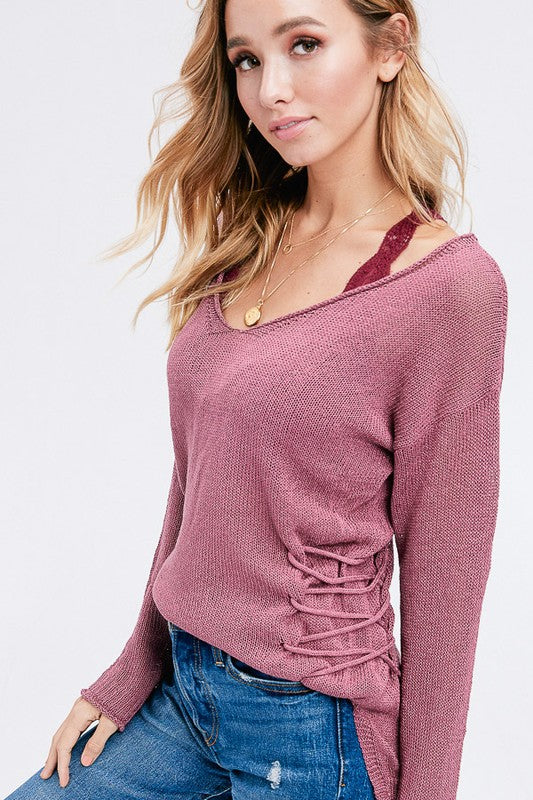Casual Love Knitted Pullover Sweater (Mauve) - Pineapple Collective