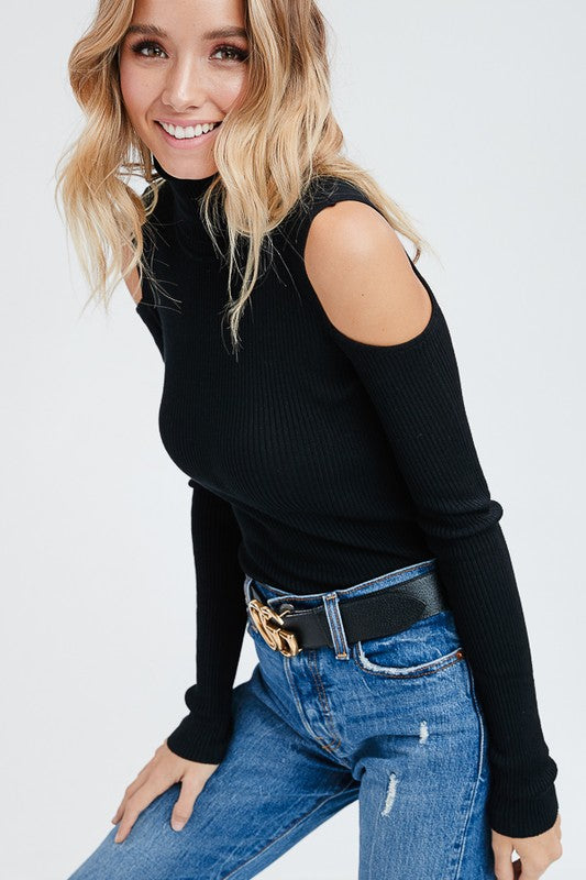 e32c51ff607708 ... More Than Basic Cold Shoulder Turtle Neck Ribbed Knit Top (Black) - Pineapple  Collective ...