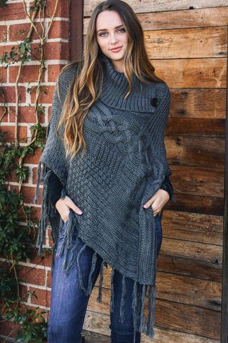 Say It Simple High Neck Multi Tassel Poncho (Gray) - Pineapple Collective