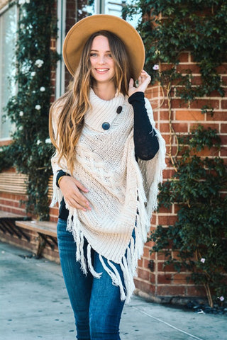 Say It Simple High Neck Multi Tassel Poncho (Ivory) - Pineapple Collective