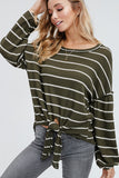 Stay With Me Striped Knit Top (Olive)