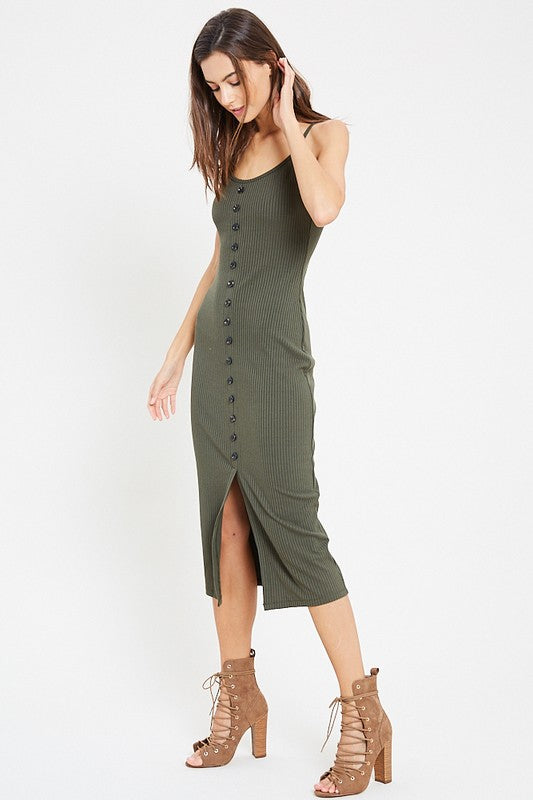 PREORDER: Button Down Cami Mini Dress (Olive) - Pineapple Collective