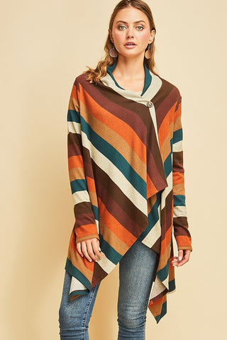 Multi Color Striped Cardigan (Rust) - Pineapple Collective