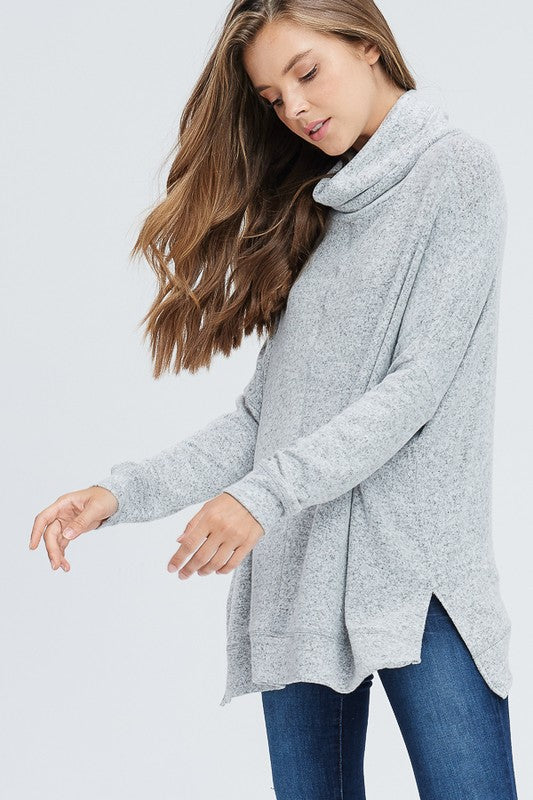 Hacci Knit Cowl Neck Pullover (heather Grey) - Pineapple Collective