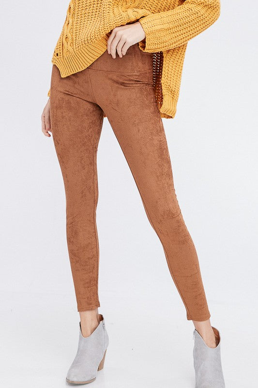 High Waist Suede Leggings (Brown) - Pineapple Collective