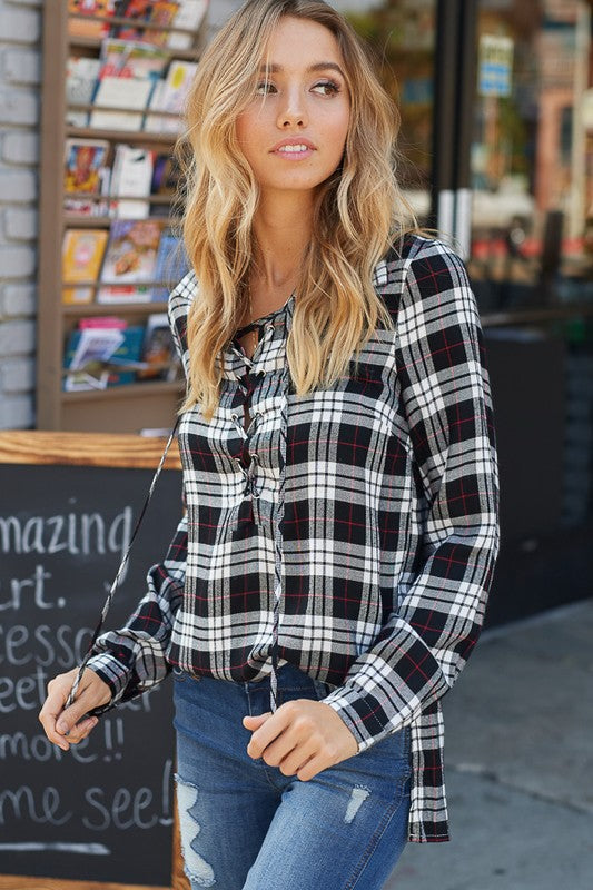 f03714a3a6765c October Nights Lace Up Front Plaid Button Down Shirt (Black) - Pineapple  Collective